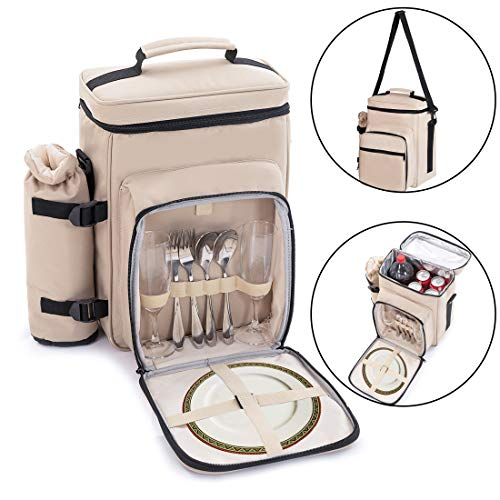 Zenph 2 Personen Picknicktasche, Kühltasche mit Isoliertasche, wasserdichte innere mit Flaschenhalter und Sicherheitstasche, für Picknick, Camping, Outdoor, Reisen und Auto Reisen