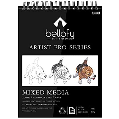 Bellofy 100-Sheet Sketchpad Artist Pro, Watercolor, Acrylic Art Pad for Sketching, Ink Sketch Book, Coloring Notebook - 98 Ib/160 g/m2-9 x 12 in Multi-Media Spiral Notebook, Drawing Paper, Drawing Pad from Bellofy