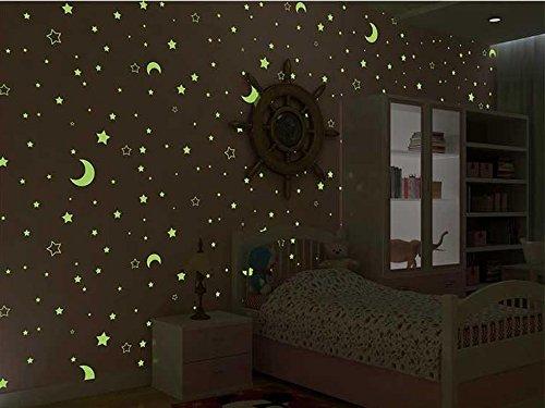 wandtapete 3D Wallpaper Sterne fluoreszierende leuchtende Tapeten Schlafzimmer für Kinder Vlies-Tuch , pink
