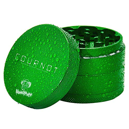 HONEYPUFF Aluminum Non-Stick Herb Grinder Metal 63MM 4 Piece Herb Chrsher Ceramic Tobacco Herb Grinders Accessories (Green)