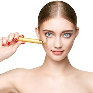 Gqzzポータブル振動フェイシャルマッサージ痩身t形状24 kゴールド美容バー用フェイスマッサージ防水スティックリフト引き締め肌シワ