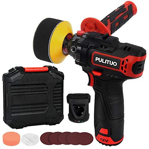 PULITUO 12V Cordless Buffer Polisher 4 Polishing Pads/3 Paint Sandpaper Mini Polisher Tool Set/Random Orbit for Polishing Car/Hone Appliance/Boat Detailing