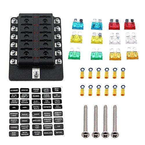 KKmoon 12-Wege-Flachsicherungskastenhalter mit roter LED-Anzeige, 12 Sicherungen, 12 Klemmen für Auto, Boot, Boot, Wohnwagen, LKW, 12 V, 24 V