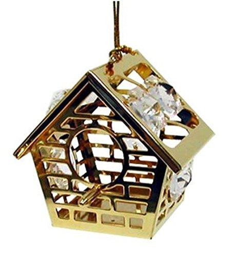 Crystal Temptations 3092 Vogelhaus mit Saugnapf Bird House 50 mm Swarovski Components Bleikristall vergoldet …