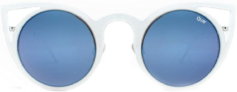 Quay Invaderwhtbluee Unisex White   bluee Catseye Sunglassses
