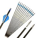 ACCMOS 31/33 Pulgadas Flecha de Carbono Puro Spine 300 350 400 ID 6,2 mm Tiro al Arco Arco y Flecha Accesorios, para Arco Compuesto/Recurvo Caza Disparo (33' Spine 350)