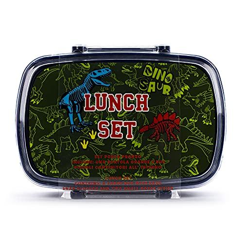 Tri-Coastal Design - Porta pranzo, Bento box per Bambini senza BPA, Leggero con Contenitori interni (Dinosaur)