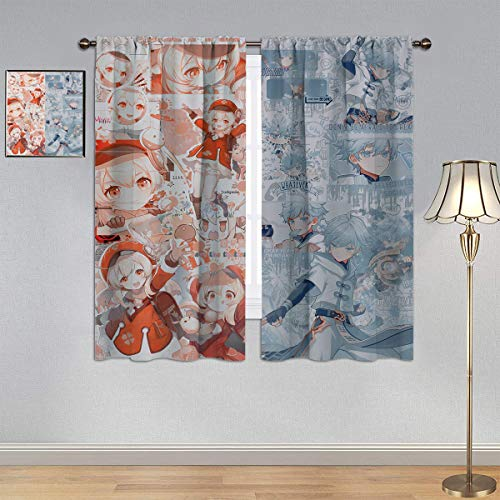 Trelemek Genshin Cortinas de impacto, cortinas personalizadas Vimoe Game Klee & Chongyun Cortina de ventana de tela para dormitorio/sala de estar 106.7 cm x 160.0 cm