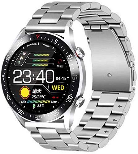 LLDKA Smart Metal-Uhr, Sportmodus-Schrittzähler, wasserdicht, Vollbild-Berührung mit Herzfrequenzüberwachung und Sauerstoff im Blut,Silber