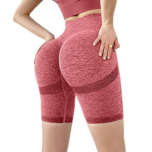 Pantalones cortos de yoga para mujer, color sólido, cintura alta, sin costuras, levantamiento de glúteos, control de barriga, pantalones cortos de entrenamiento