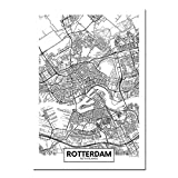 GFHDFHDFJS Leinwand Bild Rotterdam Stadtplan Drucke Poster