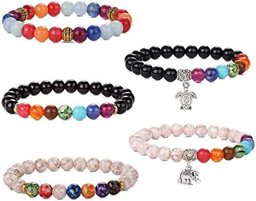 Finrezio 5 Pcs Acrylic Bead Bracelet for Women Men Distance Couples Friendship Bracelets Turtle Elephant Gifts for Christmas