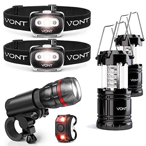 Vont 2-Pack Spark Headlamp + 2-Pack Lantern + 1Pc Bike Light Bundle - Must-Have Lighting Package for the Outdoorsy - Ideal for Biking, Camping, Hunting, Backpacking, Power Outages, and Emergencies