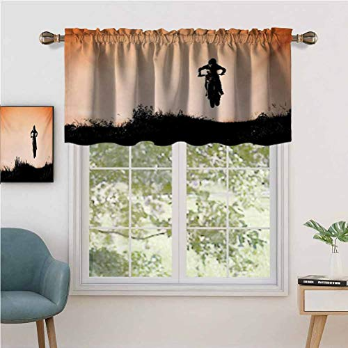 Rod Pocket Curtain Valance Blackout Motorcycle Jumping Over The Hills Horizon Sports Hobby Scenery, Set of 2, 54'x24' Window Treatment for Living Room