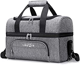 Lifewit Collapsible Cooler Bag 27-Can Insulated Leakproof Soft Cooler Portable Double Decker Cooler Tote for Trip/Picnic/Sports/Flight, Grey