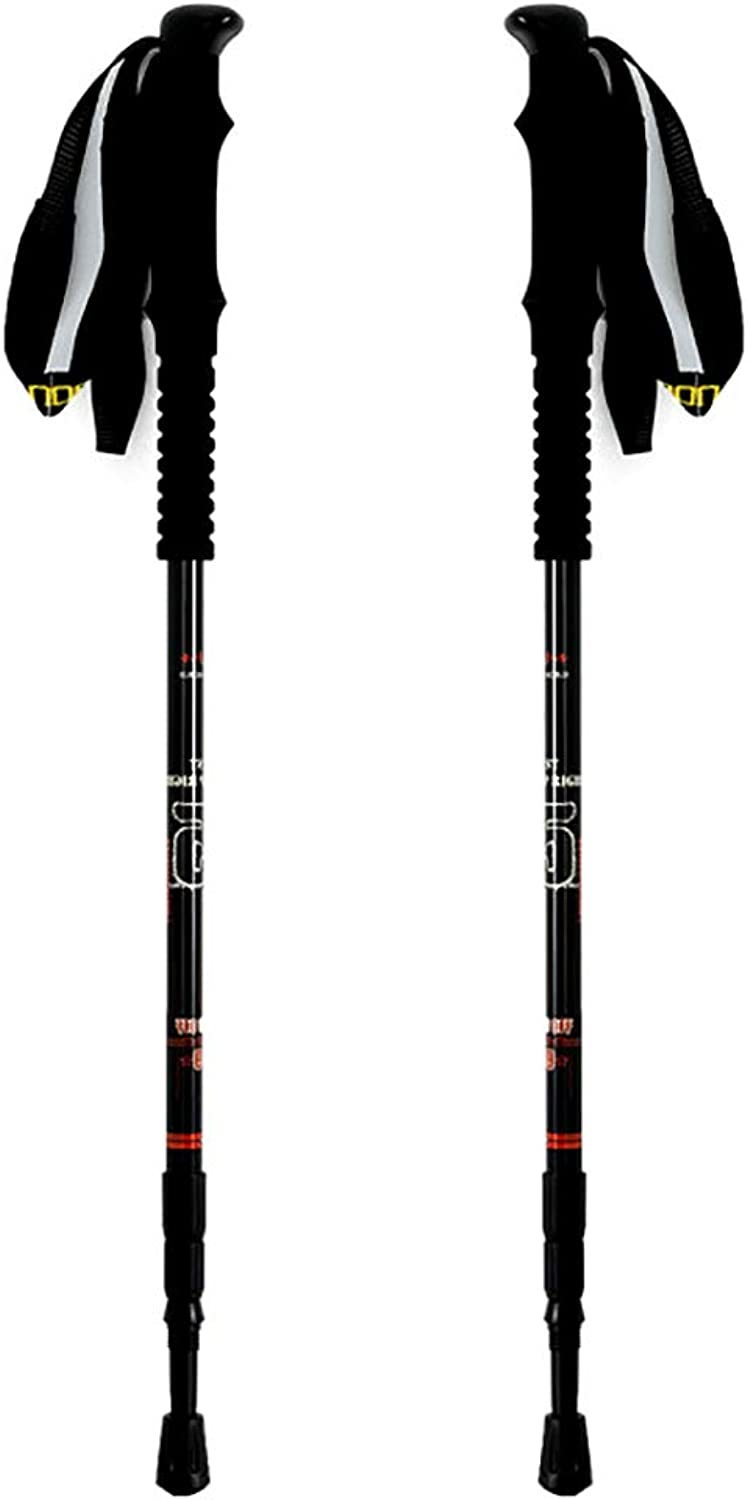 Trekking Poles 2 Pack Adjustable Anti Shock Quick Lock System Telescopic Collapsible Hiking Sticks Strong Lightweight Poles Cork Grip Padded Strap 1 Pair
