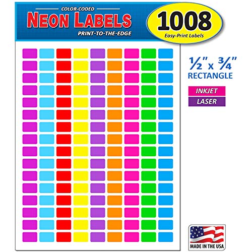 Pack of 1008, 1/2' x 3/4' Rectangle Color Coding Dot Labels, 9 Bright Neon Colors, 8 1/2 x 11 Inch Sheet, Fits All Laser/Inkjet Printers, 144 Labels per Sheet, 0.5 x 0.75 Inches