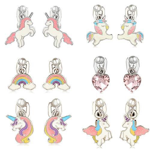 Orecchini per Bambini, Clip Orecchini Unicorno per Bambini, 6 Paia, Set di Gioielli per Ragazze da Vestire, Miglior Regalo per Bambini