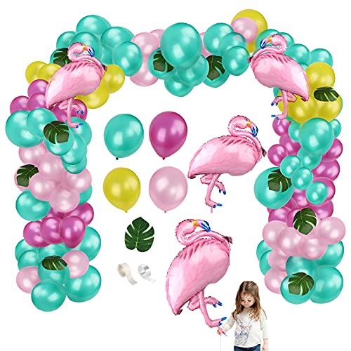Yisscen Fiesta Tropical Hawaii Decoracion,con Globo de Látex Hojas Artificiales Globo Flamingo de Aluminio para Fiesta de Cumpleaños Luau Party Fiesta en la Playa Guirnalda Globos(94 PCS)
