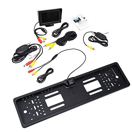 Qiilu Auto Fahrzeug Wireless Rückfahrkamera Drahtlos Digital Rückfahrkamera Set EU-Kennzeichen IP68 170 grad