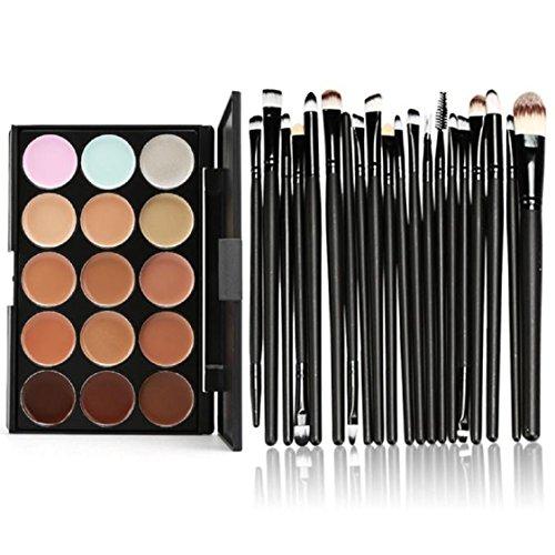 Vovotrade 15 Farben-Form-Gesichts-Creme Make-up Concealer Palette Professional + 20 Pinsel_Schwarz
