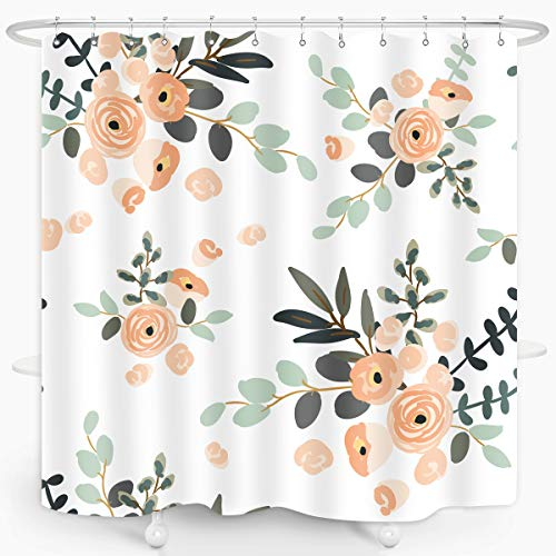 Floral Shower Curtain Watercolor Pink Roses Bouquet Fresh and Elegant Summer Home Décor Waterproof Fabric 7272 Inch Plastic Hooks 12PCS