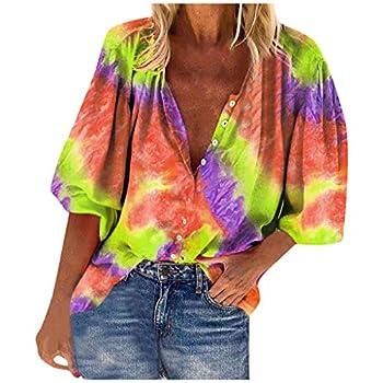 YAnGSale Top Tie-dye Print Shirt Fashion Women s Blouse Loose Buttons Polo Shirts Half Sleeve T-Shirt Casual Pullover  Yellow XXXXL