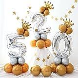 Globo gigante con números de hoja de plata con globos metálicos y corona, juego de columnas verticales para baby shower, boda, cumpleaños o fiesta (2)
