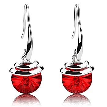 Crystal French Wire Dangle Drop Earrings  Red