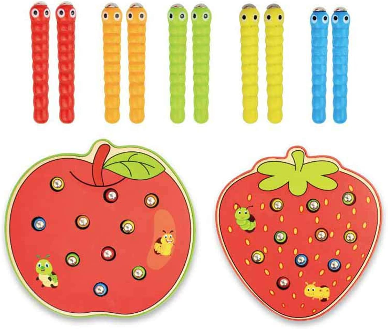 JIANPING Hlzerne Kinder pdagogische Früherziehung Spielzeug Erdbeere Fang Insekt Spiel Insekt Fang Spielzeug 6,5x15,7x14,6 cm Lernspielzeug für Kinder (Farbe   B)