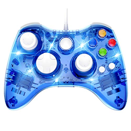 Wired 360 Controller Dual Vibrator Wired Gamepad Gaming Joypad, Blue - PAWHITS