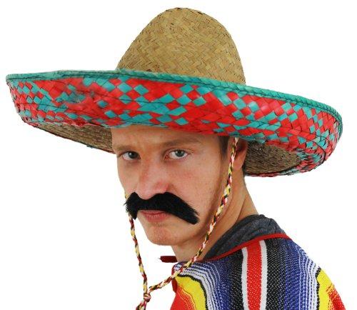 Sombrero Bleue ET Rouge Mexicain ILOVEFANCYDRESS avec SA Moustache, Chapeaux DE Paille Ideal pour Un Enterrement DE Vie DE Garcon.