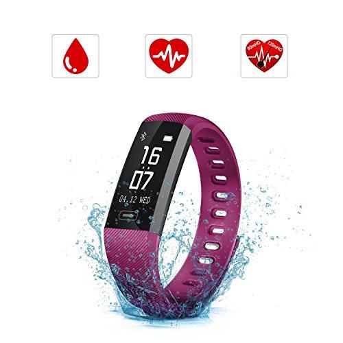 SAVFY Fitness Tracker mit Pulsmesser IPX7 Touchdisplay Bluetooth 4.0 Herzfrequenz Fitnessarmband Aktivitätstracker mit Blutdruckmesser für Android und Ios, Lila