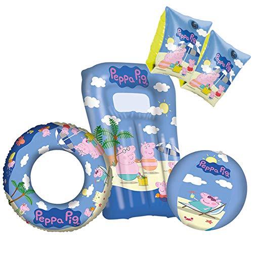 Happy People Schwimmreifen Beach | Peppa Wutz | Peppa Pig | Kinder Schwimmring | 45 cm (Badespaß-Set 4tlg.)