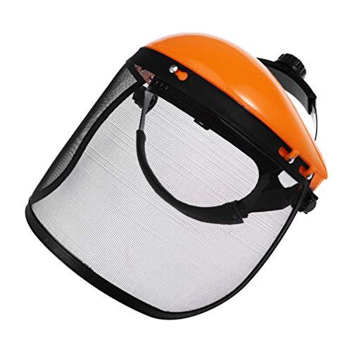 BESPORTBLE Protector Facial con Visera de Malla Ajustable Seguridad Forestal Motosierra Casco de Seguridad a Prueba de Salpicaduras Protector de La Cubierta Facial para Trabajo Al Aire Libre (Naranja)