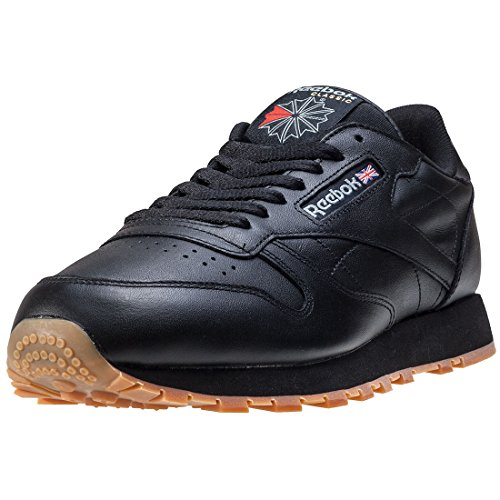 Reebok Herren Classic Leather Sneakers, Schwarz (Black/Gum), 43 EU