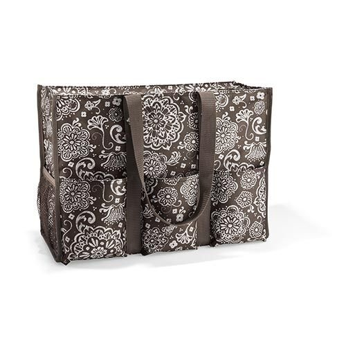 Thirty One Super Organizing Tote Brown Woodblock Floral 3893