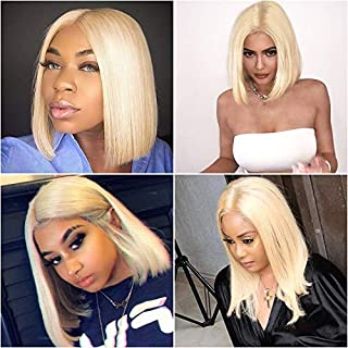 XSZM Hair 613 Blonde Short Bob Wigs Brazilian Straight Lace Front Human Hair Wigs for Black Women 13×4 Pre Plucked Natural Hairline with Baby Hair (613# 12inch)
