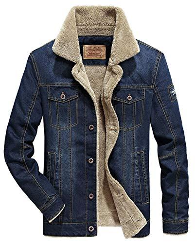 HX fashion Spijkerjas Herenjas Plus Winter Spijkerjasje Comfortabele Maten Gevoerde Spijkerjas Met Bontjas Warme Winterjas (Color : Blau, One Size : XXL)