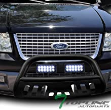 Topline Autopart Matte Black Bull Bar Brush Push Bumper Grill Grille Guard With Skid Plate + 36W CREE LED Fog Lights For 04-18 Ford F150 / 03-17 Expedition / 03-14 Lincoln Navigator / 06-08 Mark LT