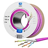 HB-DIGITAL 100m Cable de red cat.7A Cable de instalación LAN AWG23/1 Purple Cable cat7 cobre profesional S/FTP PIMF LSZH Libre de halógenos RoHS-Compliant Cat7a Cable de datos Ethernet 10Gbit 1000MHz
