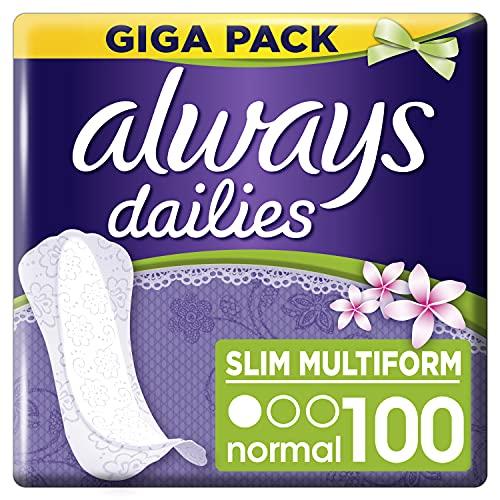 Always Dailies Slipeinlagen Damen Slim Fresh Normal (100 Binden) Giga Pack, mit frischem Duft, passend für alle Slipformen, atmungsaktiv, flexibel