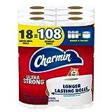 Charmin Ultra Strong Toilet Paper, 18 Super Mega Rolls = 108 Regular Rolls