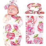 EP.Queen Baby Swaddle Blanket Wraps with Headband, Newborn Receiving Blankets, Pink Flower