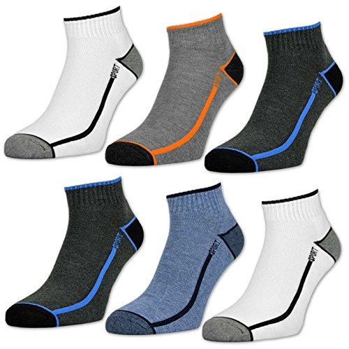 6 oder 12 Paar Sport Sneaker Socken Herren mit verstärkter Frotteesohle Sportsocken - 16215 (43-46, 6 Paar | Farbmix)