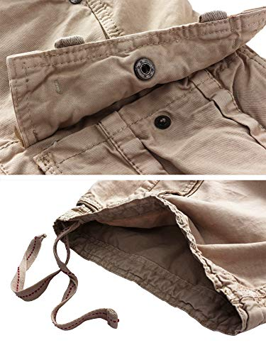 WenVen Men's Active Cargo Shorts Cotton Outdoor Wear Lightweight (WV3229 Light Khaki,42)