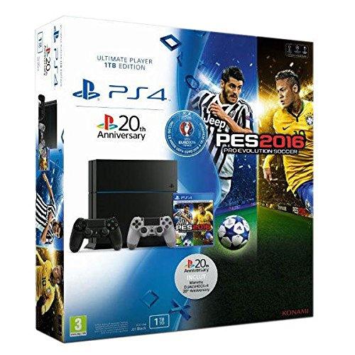 Console PlayStation 4 1 To noire + PES Euro 2016 + Manette PS4 Dual Shock 4 - 20eme anniversaire