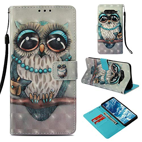 DodoBuy LG V50 ThinQ Hülle 3D Flip PU Leder Schutzhülle Stand Handy Tasche Brieftasche Wallet Hülle Cover für LG V50 ThinQ - Eule Grau
