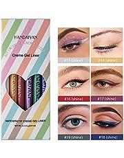 GL-Turelifes - Juego de delineador de ojos líquido mate de 6 colores, lápiz delineador de ojos colorido resistente al agua, lápiz delineador de ojos mate de larga duración
