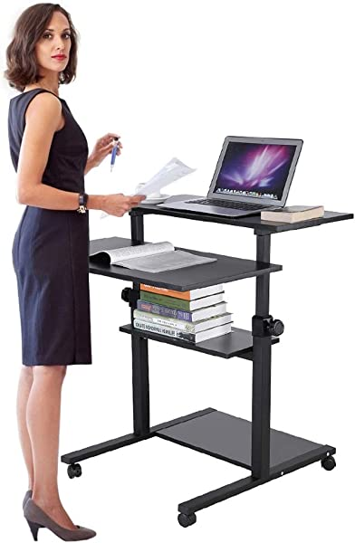 Ejoyous 4 Tiers Rolling Laptop Desk With Wheels Mobile Height Adjustable Standing Computer Desk Rolling Computer Laptop Table Workstation Presentation Cart On Wheels For Home Office Black